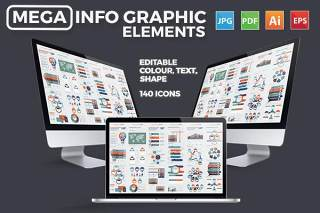 大型数据信息图表模板元素设计Mega Infographics Elements Design