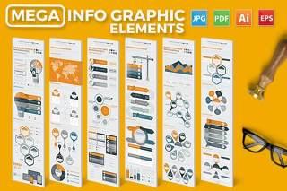 大型信息图形元素设计矢量素材Mega Infographics Elements Design