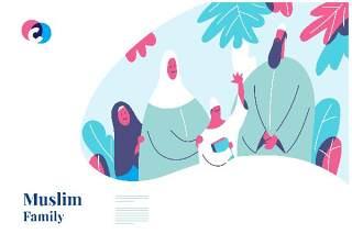 清新快乐穆斯林家庭网页英雄插画矢量素材Happy Muslim family web hero illustration template