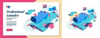洗衣服干洗衣服插画混合颜色样式素材Laundry Graphic - Mixcolor style vector 2