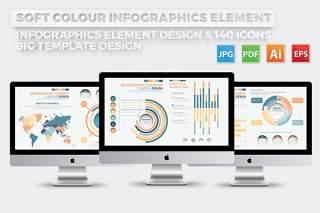多彩色统计信息图表模板元素设计Soft Colour Infographics Elements Design