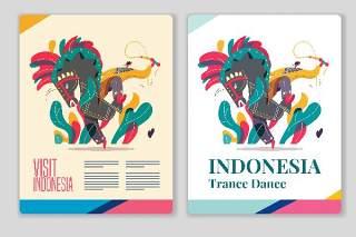 印尼传统舞蹈海报插画素材Indonesia traditional dance poster