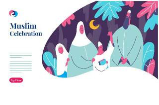快乐穆斯林家庭网页英雄插画模板EPS素材Happy Muslim family web hero illustration template