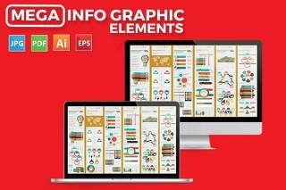 大数据信息图表元素模板设计素材Mega Infographics Elements Design