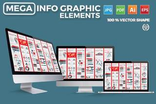 大型信息图形元素设计素材Mega Infographics Elements Design