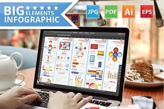 数据统计信息图表模板元素设计Big Infographic Elements Design