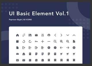 UI基本元素图标素材UI Basic Element Vol. 1 - Papricon Glyph