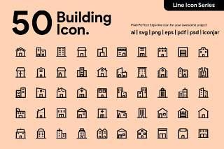 50个建筑线性图标素材50 Building Line Icon