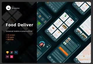 食品配送应用IOS设计+用户界面工具包+模型+独特图标Food Delivery App IOS design + UI Kit + Mockup + unique icons