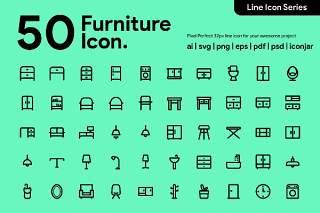 50个家具系列图标素材50 Furniture Line Icon