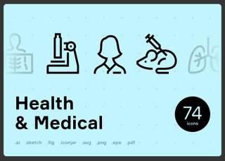 健康医疗线性图标元素Health & Medical Line Icons