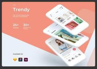 时尚购物电子商务用户界面用户体验工具包Trendy Shopping eCommerce UI UX KIT