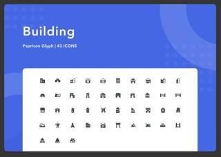 建筑图形图标素材Building-Papricon Glyph