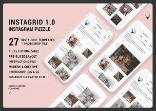 图片分享社交用户拼图模板InstaGrid 1.0 - Instagram Puzzle Template