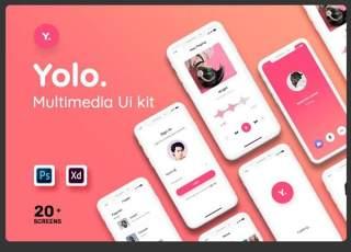 多媒体移动应用程序用户界面工具包Yolo Multimedia Mobile App UI Kit