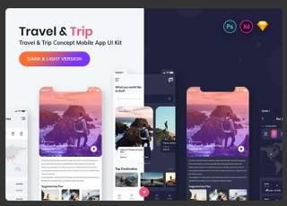 旅游和旅游预订移动应用程序用户界面工具包Tour & Travel Booking Mobile App UI Kit