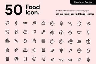 50个食物线性图标素材50 Food Line Icon
