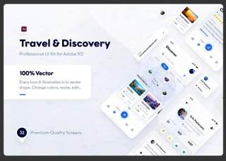 适用于Adobe XD的旅行和探索用户界面工具包Travel & Discovery UI Kit for Adobe XD
