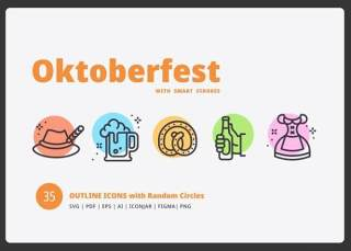 啤酒节主题彩色圆形图标元素Oktoberfest Random Circles
