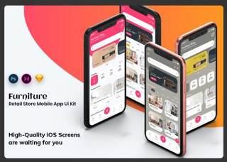 家具商店移动应用程序用户界面工具包Furniture Store Mobile App UI Kit