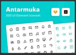 用户界面元素线性图标Antarmuka UI element icon