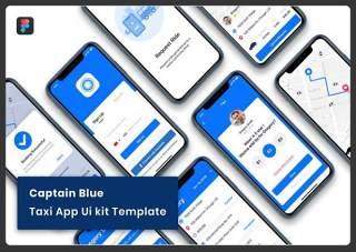 蓝色的士出租车APP UI工具包Captain Blue - Taxi App UI Kit