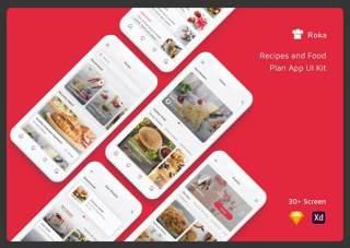 食谱和食物计划应用程序UI工具包Roka - Recipes and Food Plan App UI Kit