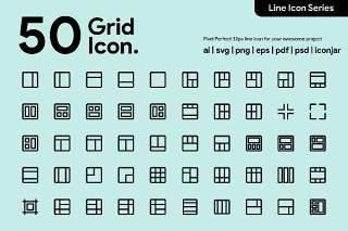 50个网格线性图标素材50 Grid Line Icon