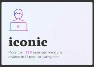 标志性的基本线性图标素材Iconic. Essential line icons set