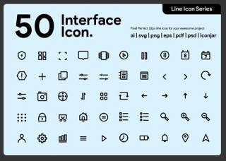 50个用户界面线性图标素材50 User Interface Line Icon
