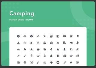 户外露营图标元素Camping-Papricon Glyph