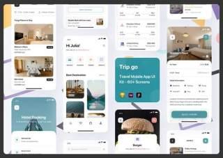 旅行应用程序用户界面工具包Trip Go Travel App UI Kit