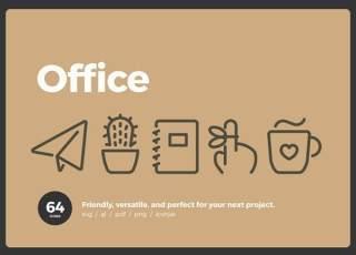 64个办公线性图标素材64 Office Icons