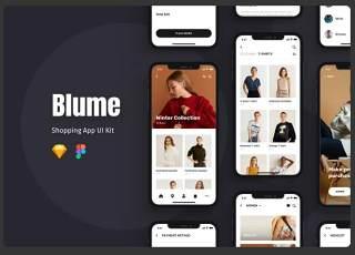 蓝色购物APP界面设计模板Blume - Shopping App UI Kit