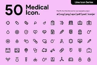 50个医疗线性图标素材50 Medical Line icon