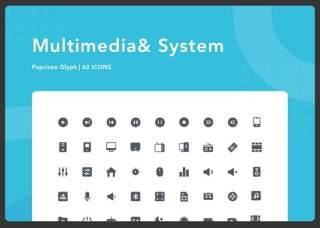 多媒体与系统图标素材Multimedia & System - Papricon Glyph
