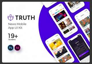 新闻事实移动应用程序用户界面素材设计工具包Truth News Mobile App UI Kit
