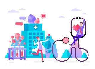 商务医院医疗科研网络电商购物网页卡通人物插画矢量AI设计素材1