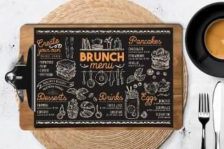 黑色早午餐菜单PSD素材模板Brunch Food Menu