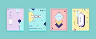 四款彩色平面设计几何线性封面布局矢量AI设计素材源文件05