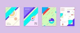 四款彩色平面设计几何线性封面布局矢量AI设计素材源文件06