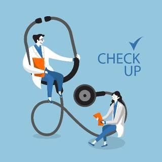 创意听诊器医生护士护理医疗场景卡通人物插画海报AI矢量素材模板