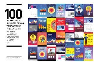100个商业与营销设计模板主题海报AI矢量素材