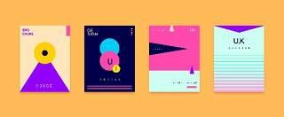 简洁现代几何扁平化海报创意平面广告UI设计封面版式矢量素材模板07