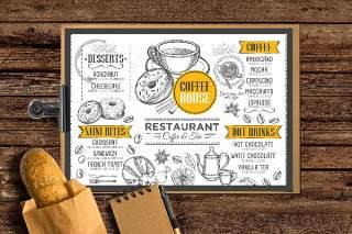 咖啡菜单小册子PSD模板素材Coffee Menu Brochure