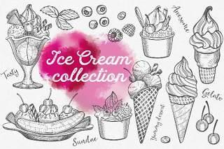 冰激凌手绘图案矢量素材Ice Cream Hand-Drawn Graphic