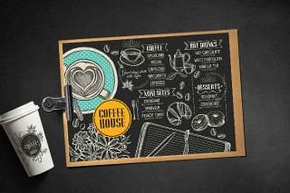 黑色横板咖啡菜单PSD模板素材Coffee Menu Template