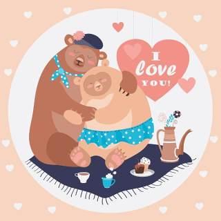可爱卡通友爱熊夫妇森林动物插画EPS矢量素材