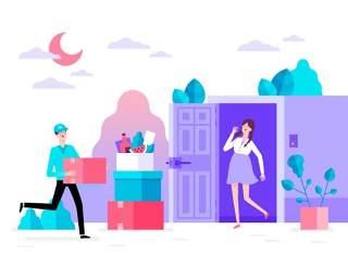 商务医院医疗科研网络电商购物网页卡通人物插画矢量AI设计素材16