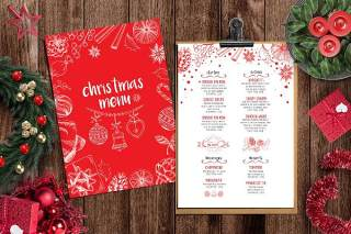红白色双面圣诞菜单餐厅PSD模板Christmas Menu Restaurant Template